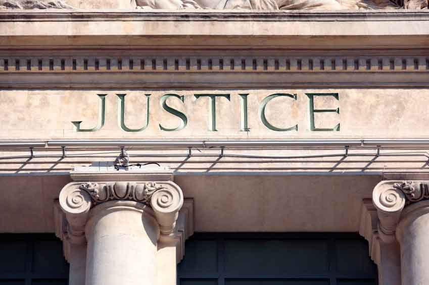 "Courthouse displaying word ""Justice"""
