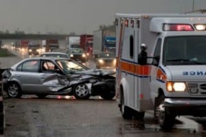 car accident  and ambulance