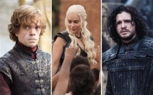 Peter Dinklage, Emilia Clarke and Kit Harington in HBO's Game of Thrones.